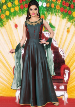 Dark Green with Maroon Color  Party Wear Designer Gown